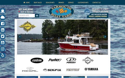 Screenshot of Home Page yarmouthboatyard.com - Yarmouth Boat Yard   New and pre-owned boats, docks, engines and more for sale in Yarmouth, ME   Parts and services offered   Proudly serving our neighbors in Portland and Brunswick - captured May 27, 2017