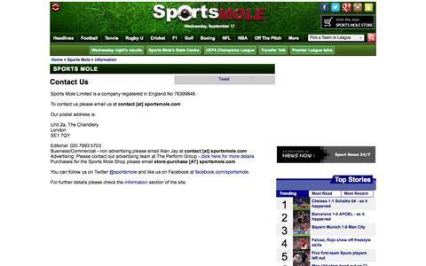 Screenshot of Contact Page sportsmole.co.uk - Contact Us - Sports Mole - captured Sept. 18, 2014