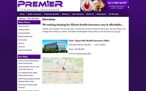 Screenshot of Maps & Directions Page pfichicago.com - Directions | Premier Financial Insurance Chicago Illinois - captured Oct. 8, 2014