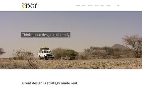 Screenshot of Home Page modernedge.com - Modern Edge - A Strategic Design + Development Consultancy - captured Oct. 6, 2014
