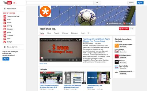 Screenshot of YouTube Page youtube.com - TeamSnap Inc.  - YouTube - captured Oct. 22, 2014