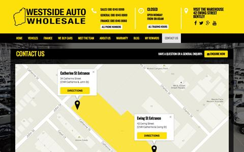Screenshot of westsideauto.com.au - Contact Us   Westside Auto Wholesale   Wholesale Used Cars Perth - captured Oct. 4, 2015