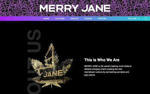Screenshot of About Page merryjane.com - About MERRY JANE - Explore Cannabis Products - Dispensaries - Videos - captured Nov. 15, 2019