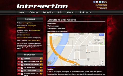 Screenshot of Maps & Directions Page sectionlive.com - Directions and Parking | The Intersection - captured Oct. 26, 2014