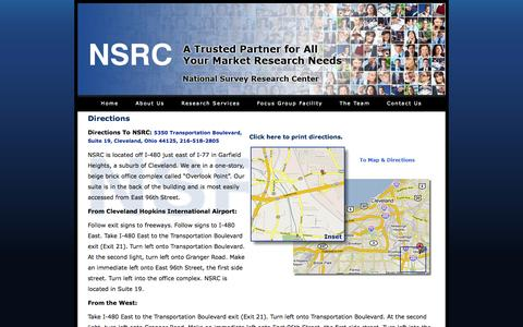 Screenshot of Maps & Directions Page nsrc.com - NSRC - Contact Us - captured Oct. 26, 2014