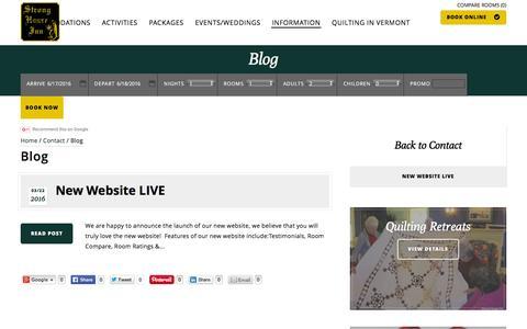 Screenshot of Blog stronghouseinn.com - Blog - captured June 17, 2016