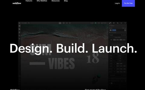 Screenshot of Home Page webflow.com - Responsive web design tool, CMS, and hosting platform | Webflow - captured Aug. 17, 2018