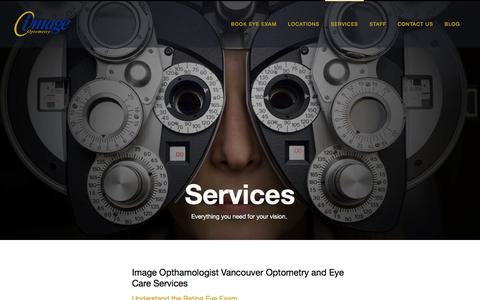 Screenshot of Services Page image.ca - Services | Eye Exams, Fittings, Treatments | 604-685-3937 - captured Nov. 25, 2016