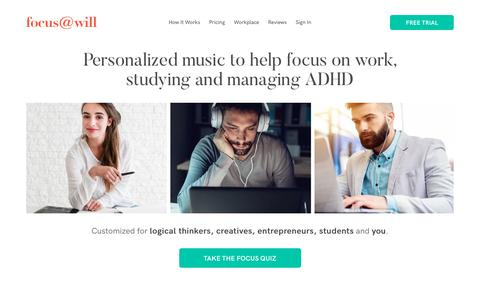 Screenshot of Home Page focusatwill.com - Get A 4x Increase In Productivity By Listening To Music | Focus@Will - captured Feb. 12, 2020