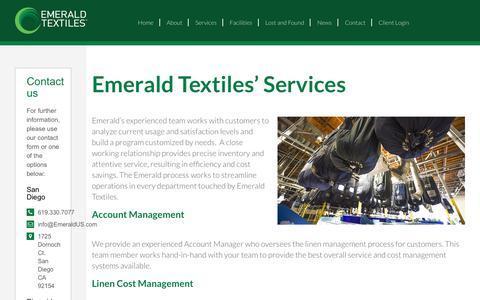Screenshot of Services Page emeraldus.com - Our Laundry Services   Emerald Textiles - captured Sept. 28, 2018