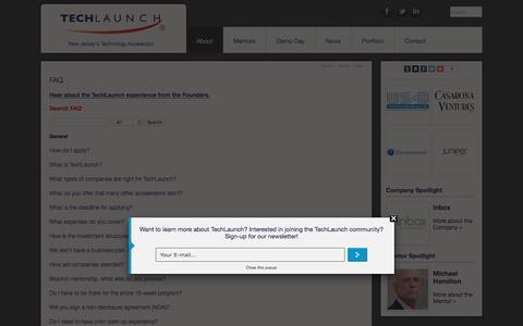 Screenshot of FAQ Page techlaunch.com - Frequently Asked Questions about the Technology Accelerator | TechLaunch - captured Jan. 23, 2016