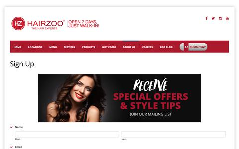 Screenshot of Signup Page hairzoo.com - Sign Up - captured July 15, 2018