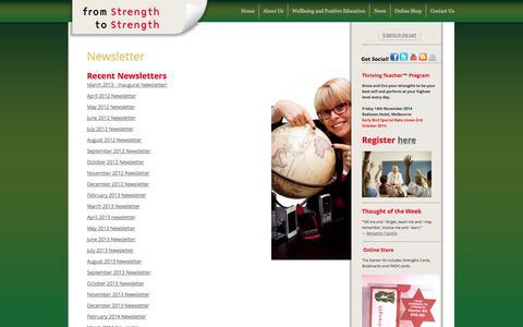 Screenshot of Signup Page fionatrembath.com - www.fromstrengthtostrength.com | Newsletter - captured Oct. 1, 2014