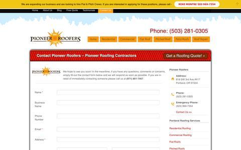 Screenshot of Contact Page pioneerroofers.net - Contact Portland Roofers - Portland, Or. | Pioneer roofers - captured Oct. 2, 2014