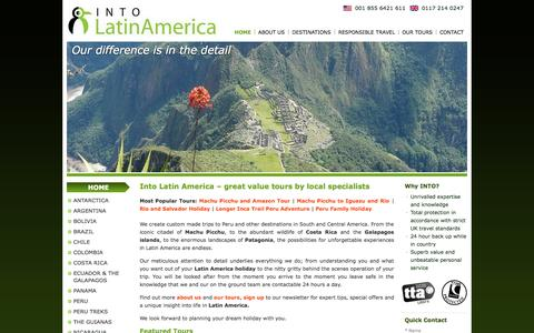 Screenshot of Home Page Menu Page intolatinamerica.com - Into Latin America – great value tours by local specialists - captured Sept. 30, 2014