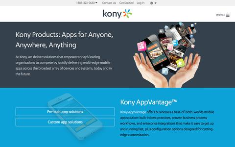 Screenshot of Products Page kony.com - Products | Kony - captured Aug. 1, 2017