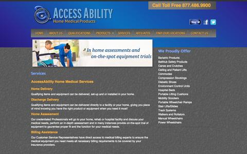 Screenshot of Services Page hmestore.net - Accessibility Product Services | Southeast Wisconsin |AccessAbility Home Medical Products - captured Oct. 4, 2014