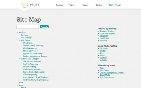 Screenshot of Site Map Page tbhcreative.com - Indianapolis Website Company | Creative Website Agency | TBH Creative Site Map - captured Sept. 23, 2014