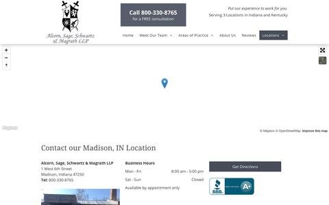 Screenshot of Contact Page Locations Page advocatelawoffices.com - Alcorn, Sage, Schwartz & Magrath LLP Madison 800-330-8765 - captured July 3, 2018