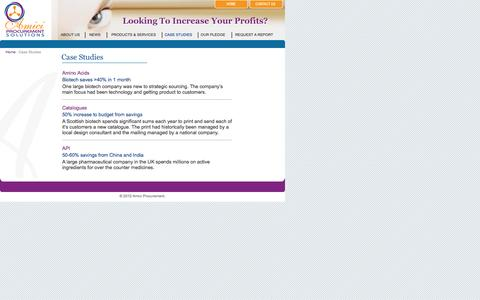 Screenshot of Case Studies Page amiciprocurement.com - Procurement and Purchasing Consultancy, Training and Consortium Deals for Biotech - Amici Procurement Solutions - captured Oct. 4, 2014