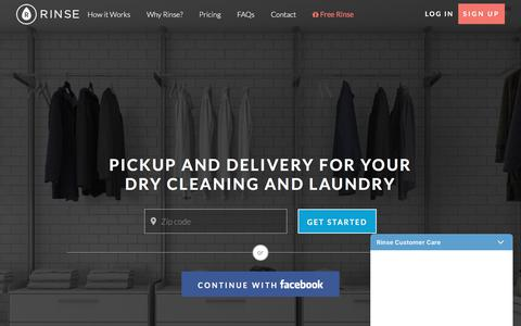 Screenshot of Home Page rinse.com - Rinse - Dry Cleaning and Laundry. Delivered. - captured Jan. 26, 2018