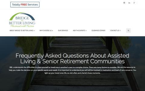 Screenshot of FAQ Page bridgetobetterliving.com - FAQ | Bridge to Better Living | Questions About Assisted Living - captured Feb. 8, 2016
