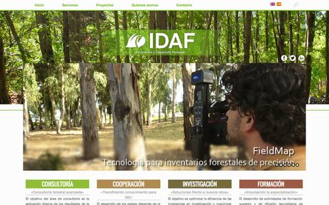Screenshot of Home Page idaf.es - IDAF | Forestry consulting - captured Oct. 3, 2014