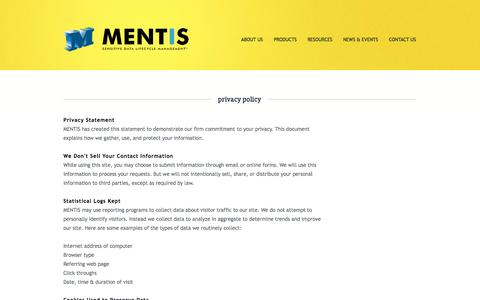 Screenshot of Privacy Page mentisoftware.com - MENTIS | privacy policy - captured Oct. 3, 2014