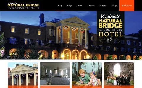 Screenshot of Home Page naturalbridgeva.com - Virginia's Natural Bridge Park & Historic HotelVirginia's Natural Bridge Park & Historic Hotel - captured Sept. 23, 2014
