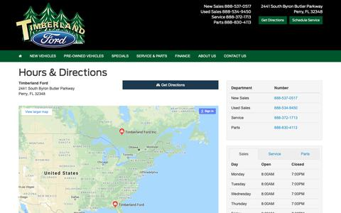 Screenshot of Hours Page timberlandford.com - Timberland Ford Hours & Directions - Perry, FL Ford dealer in Perry FL - New and Used Ford dealership Tallahassee, FL Live Oak, FL Lake City, FL FL - captured Oct. 20, 2018
