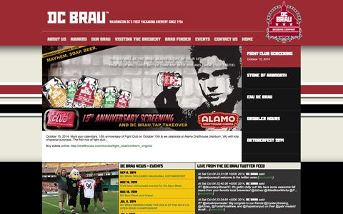 Screenshot of Home Page dcbrau.com - ::: DC Brau Brewing Company ::: - captured Oct. 5, 2014