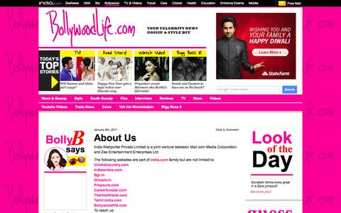 Screenshot of About Page bollywoodlife.com - About Us – Bollywood News & Gossip, Movie Reviews, Trailers & Videos at Bollywoodlife.com - captured Oct. 29, 2014