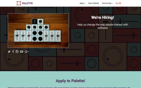 Screenshot of Jobs Page palettegear.com - Palette - Careers - captured Dec. 17, 2015