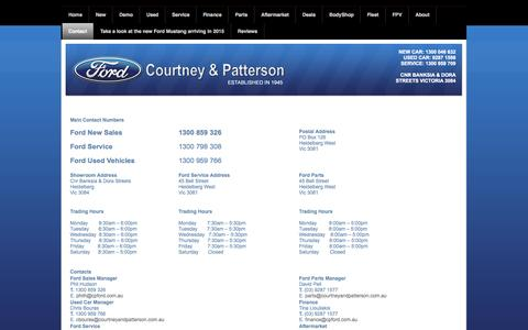 Screenshot of Contact Page cpford.com.au - Courtney and Patterson Ford, Ford  Melbourne, Used Ford Cars, Ford Dealership, Ford New Car, New Ford, Ford Servicing - Contact - captured Oct. 27, 2014