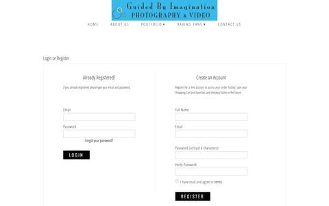 Screenshot of Login Page zenfolio.com - Guided By Imagination | Login or Register - captured Nov. 5, 2018