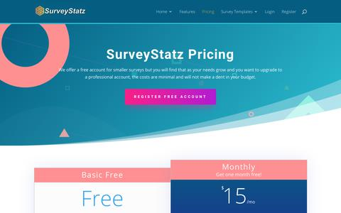 Screenshot of Pricing Page surveystatz.com - SurveyStatz | Pricing | Free and Monthly Subscription - captured Dec. 11, 2018