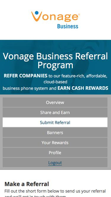 Submit Referral | Business Referral Program | Vonage Business