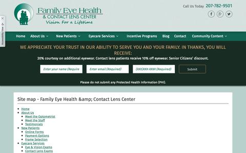 Screenshot of Site Map Page family-eyehealth.com - Site map - Family Eye Health & Contact Lens Center - captured Dec. 19, 2018