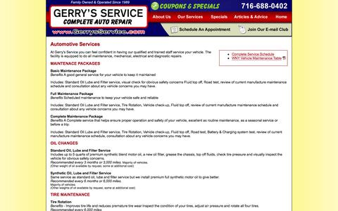 Screenshot of Services Page thecarguys.net - Car Repair in Amherst, NY - captured July 30, 2017