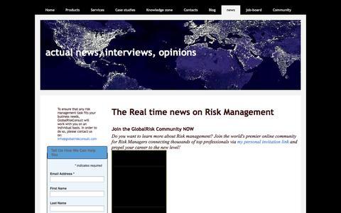 Screenshot of Press Page globalriskconsult.com - actual news, interviews, opinions - captured Sept. 30, 2014
