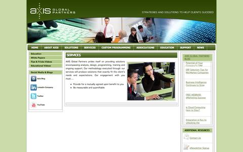 Screenshot of Services Page axisgp.com - Professional Services | Axis Global Partners - captured Oct. 4, 2014