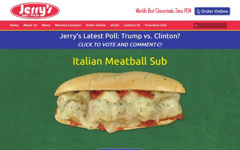 Screenshot of Home Page jerrysusa.com - Home - Jerry's Subs and Pizza : Jerry's Subs and Pizza - captured Feb. 11, 2016