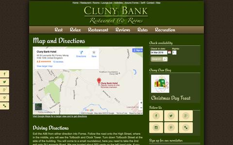 Screenshot of Maps & Directions Page clunybankhotel.co.uk - Directions | Getting Here | Cluny Bank Hotel | Forres | Moray - captured March 3, 2016