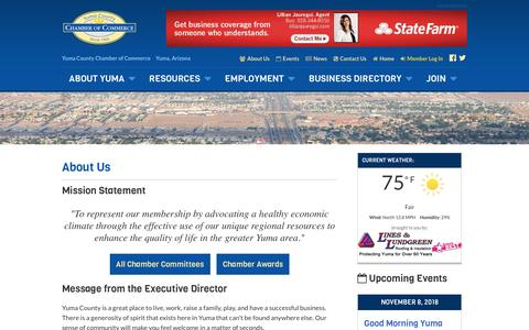 Screenshot of About Page yumachamber.org - About Us - Yuma County Chamber of Commerce - captured Oct. 18, 2018