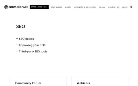 Screenshot of Support Page squarespace.com - Squarespace Help - SEO – Squarespace Help - captured Feb. 11, 2019