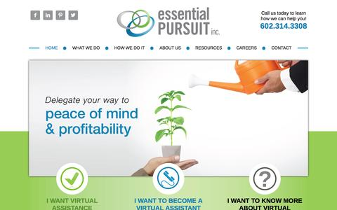 Screenshot of Home Page essentialpursuit.com - Essential Pursuit – Virtual Assistance When You Need It - captured Oct. 3, 2014