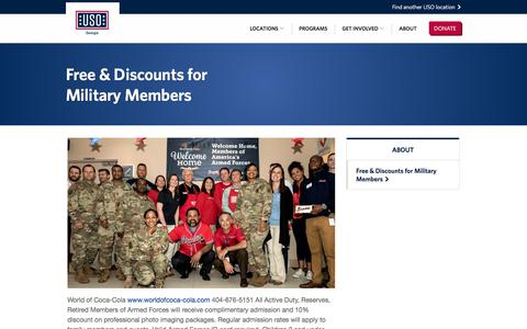 Screenshot of About Page uso.org - Free & Discounts for Military Members • USO of Georgia - captured July 4, 2018