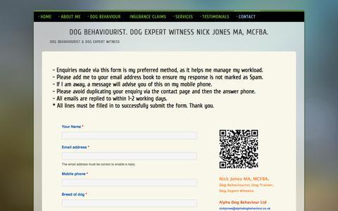 Screenshot of Contact Page alphadogbehaviour.co.uk - Contact Page for Nick Jones MA. Dog Behaviourist. Dog Expert Witness. Alpha Dog Behaviour Ltd - captured May 29, 2017