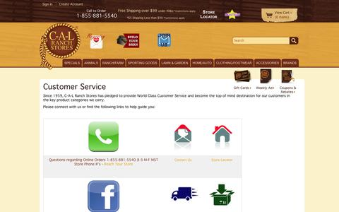 Screenshot of Support Page calranch.com - Customer Service at CAL Ranch Store - captured Sept. 24, 2014