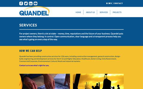 Screenshot of Services Page quandel.com - Services - Quandel Construction - captured Sept. 29, 2018